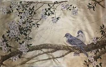 Японская живопись по шелку
