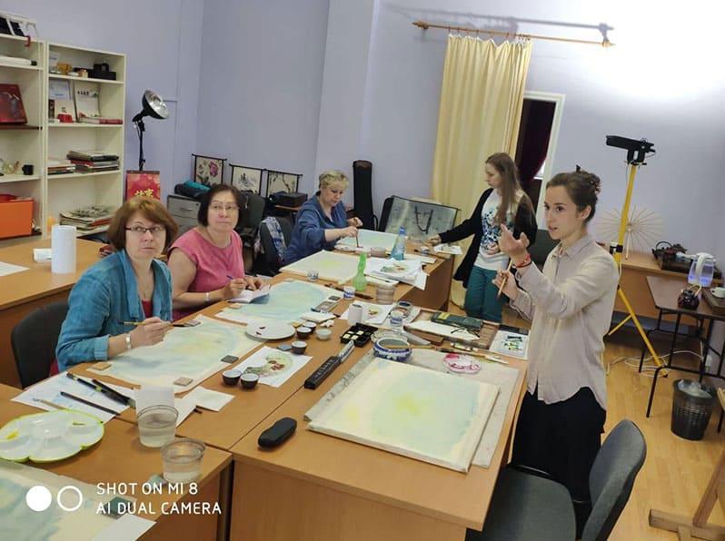 занятия китайской живописью могуфа с Олей Обуховой