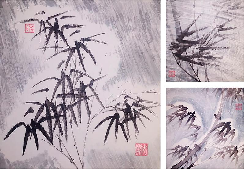Бамбук под снегом