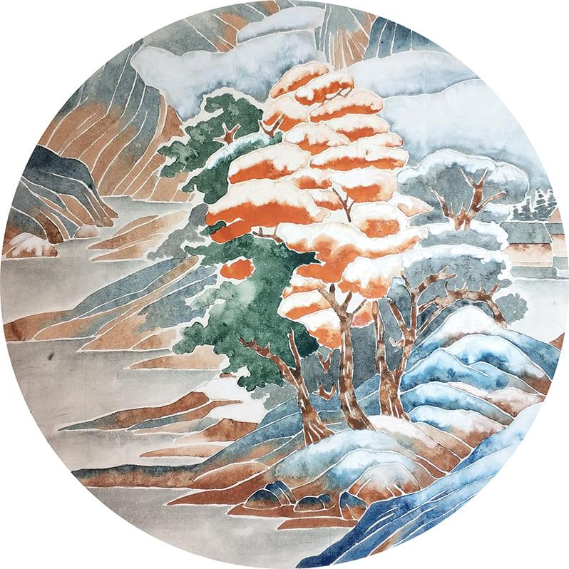 снежный пейзаж в технике китайской живописи могуфа