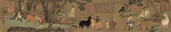 Чжао Мэнфу. Купание коней. сер. 1290х, Гугун, Пекин.