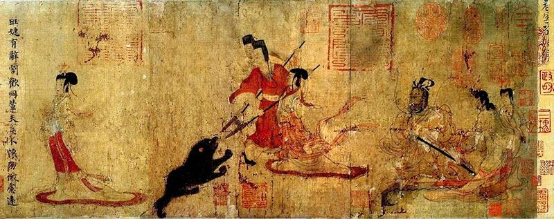 Китайская живопись. Гу Кайчжи. Наставница поучает придворных дам