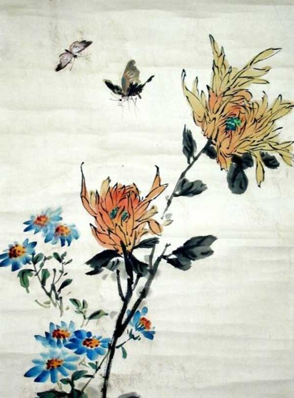Хризантема и бабочки