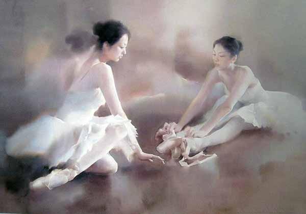 Воздушные балерины в акварелях Лю И