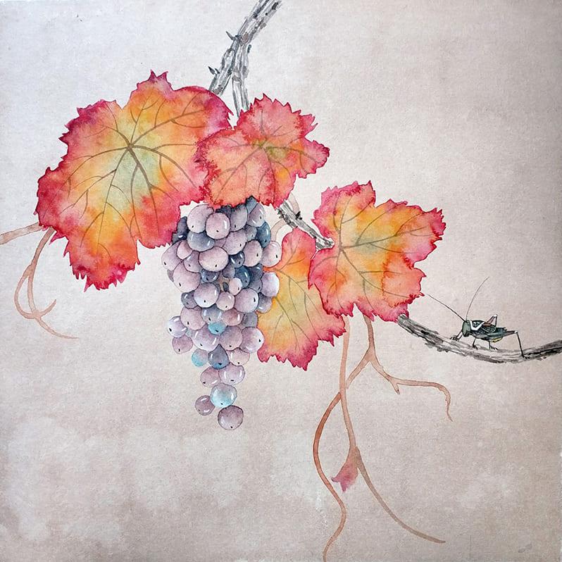 Повторение мини-курса Виноград в технике могуфа