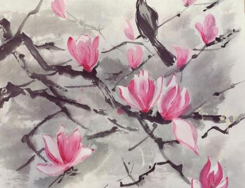 Рисуем подснежники в группе японской живописи вместе с Еленой Поповой