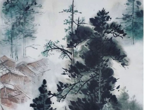 Рисуем пейзаж с туманами и ёлками в пятницу