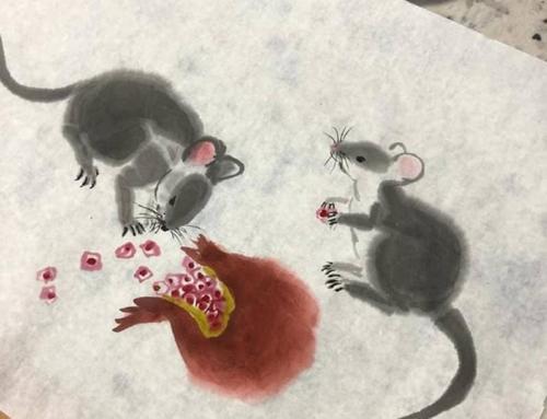 Рисуем  мышек на открытках и в живописных восточных композициях