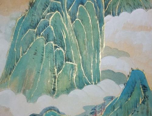 Рисуем сине-зеленый пейзаж с золотом