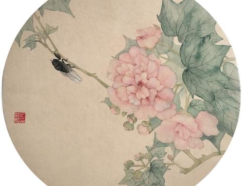 🍀 Вторая тема мини-курса «Могуфа с элементами гунби» – Гибискус и цикада.
