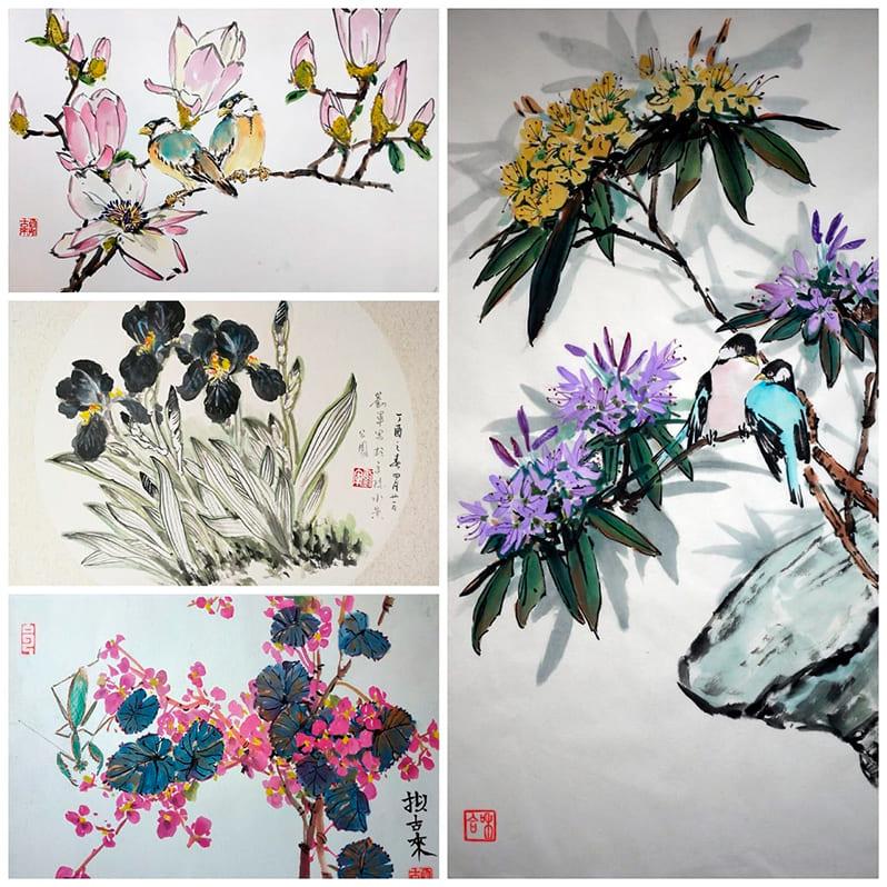 блок видео-уроков по самостоятельному обучению и написанию картин с стиле китайской живописи