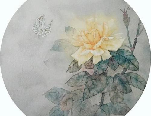 🦋 Рисуем с Олей Обуховой: «Жёлтая роза с бабочкой»