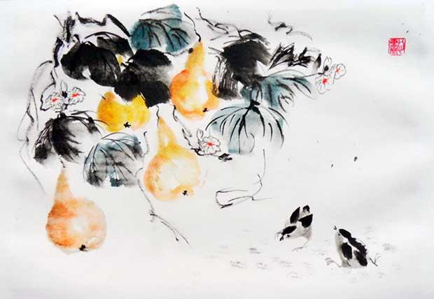 Тыква горлянка в китайской живописи